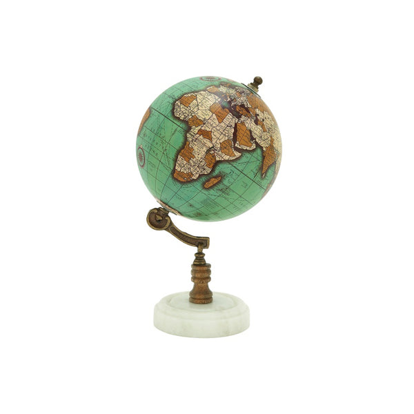 Blue and brown modern wood and metal globe