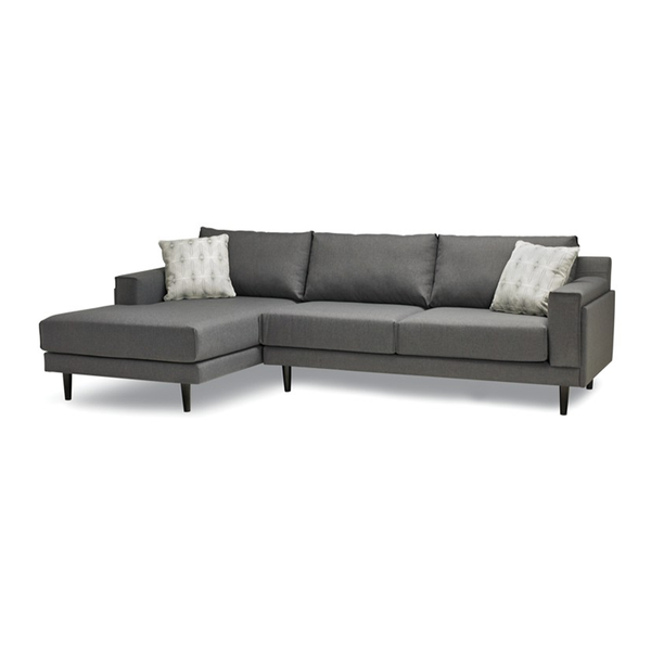 modern charcoal grey fabric sofa chaise sectional with espresso wood leg Right Hand Facing