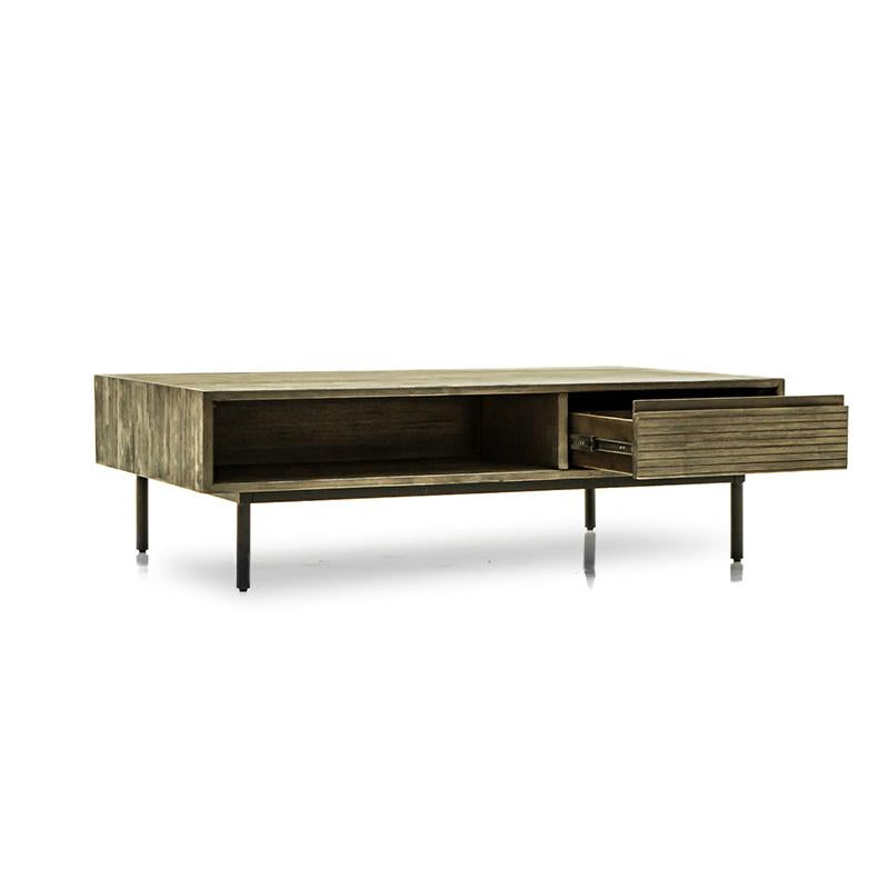 Acacia wood coffee table with one drawer, on shelf, and metal legs