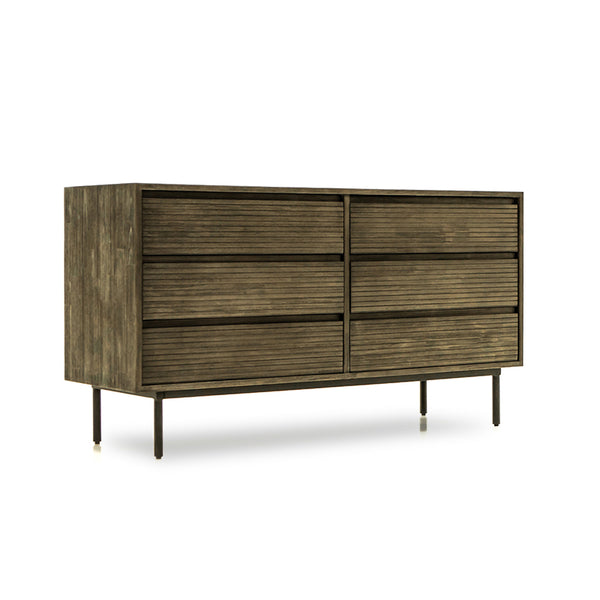 acacia wood 6 drawer dresser with metal legs
