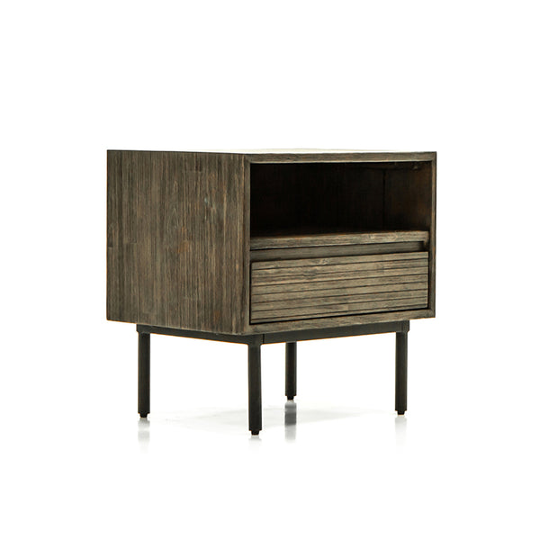 Acacia Wood Night Stand Table with One Drawer, one shelf, and metal legs