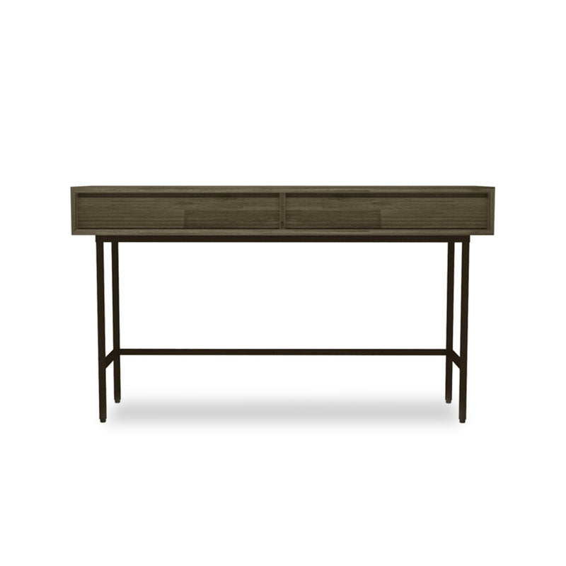 Acacia wood console sofa table with 2 drawers and metal legs