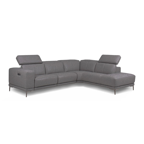 Dark grey modern fabric sectional right hand facing with USB Port