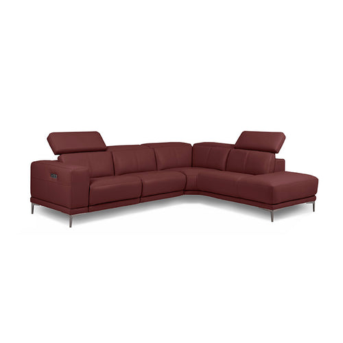 oxblood burgundy red modern leather sectional right hand facing with USB Port