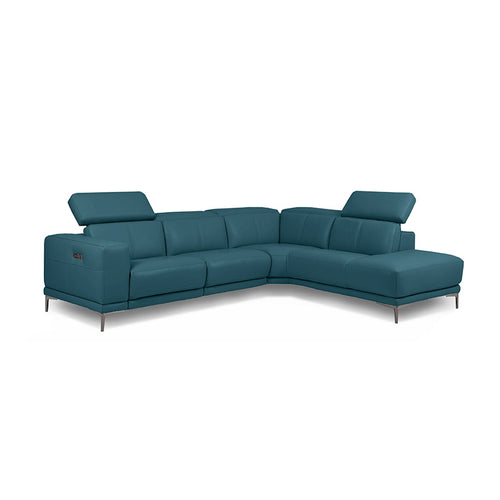 Teal blue green modern leather sectional right hand facing with USB Port