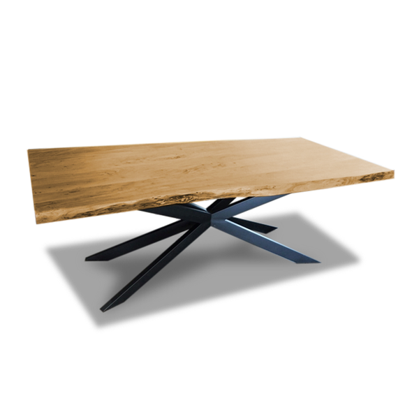modern live edge dining table with Black Metal Spider Base