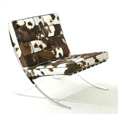 Pony spot cowhide modern leather chair with steel frame