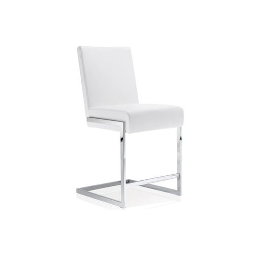 White modern faux leather counter stool with chrome base