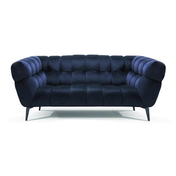 Modern navy fabric loveseat with dark wood legs