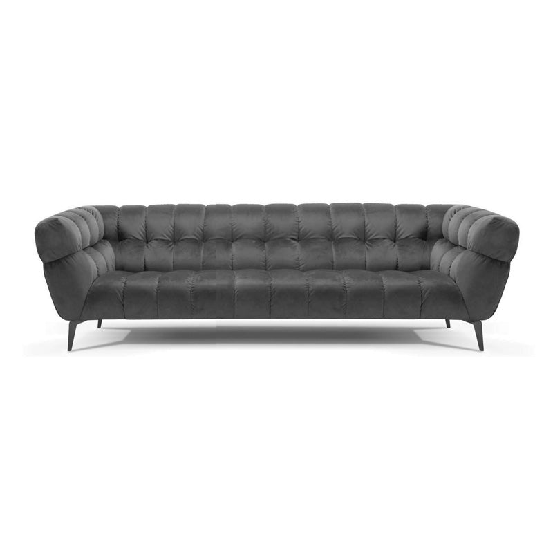 Navy velvet tufted modern upholstered sofa with black metal leg