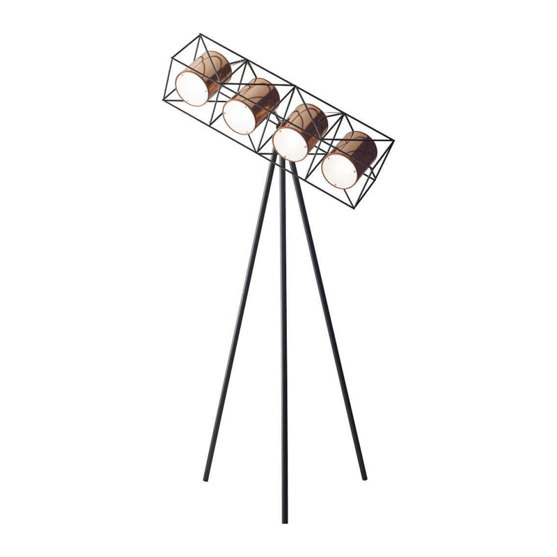 matte black modern tripod floor lamp with four lights