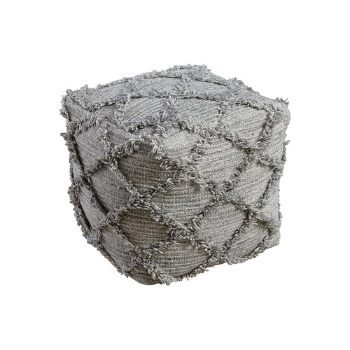 Gray modern wool pouf