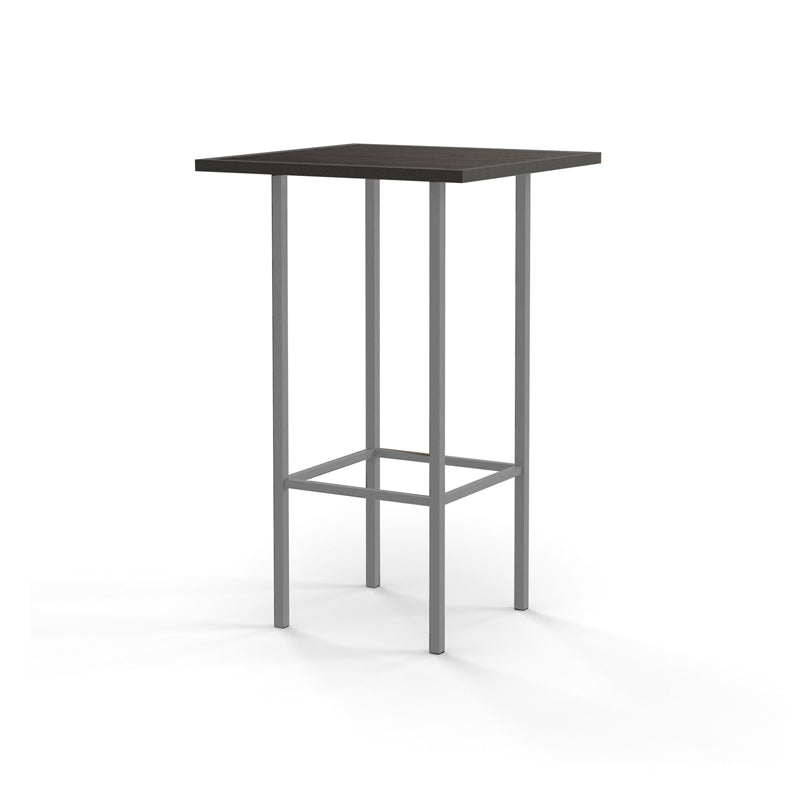 Modern glass pub table with metal powder coat base