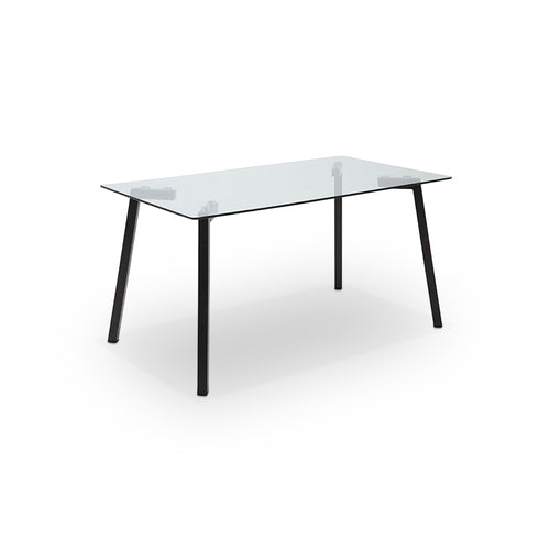 Modern glass dining table with black metal legs