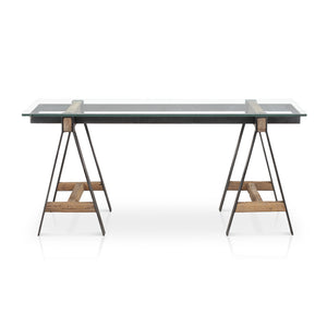Modern Glass Desk with Metal and Wood Legs