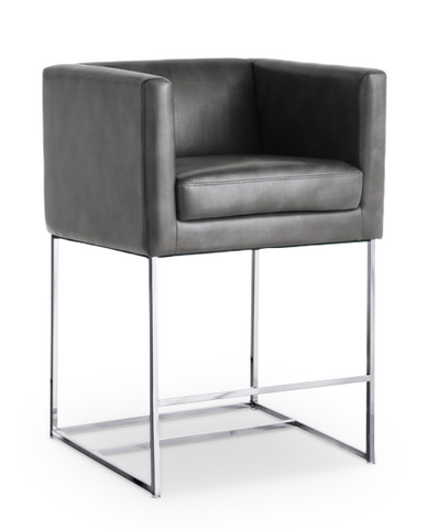 Dark Grey Modern Bonded Leather Counter Stool with Stainless Steel Base