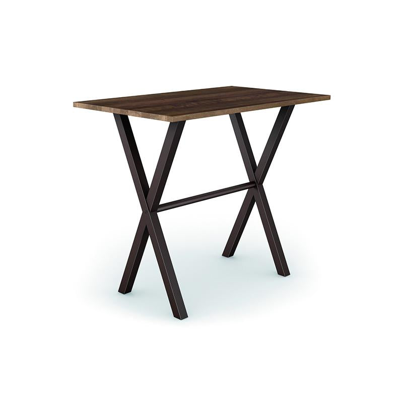 Modern Custom Order Counter Table with Dark Solid Wood Top and Metal Cross Trestle Base