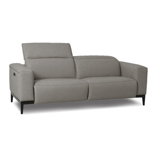 modern power reclining ash grey fabric sofa with dark wood legs
