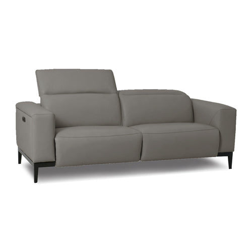 modern power reclining graphite grey top grain leather sofa with dark wood legs