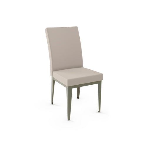 taupe modern fabric dining chair with metal legs