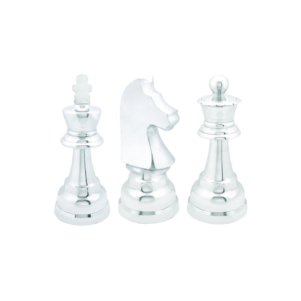silver aluminum modern chess piece statues, set of three