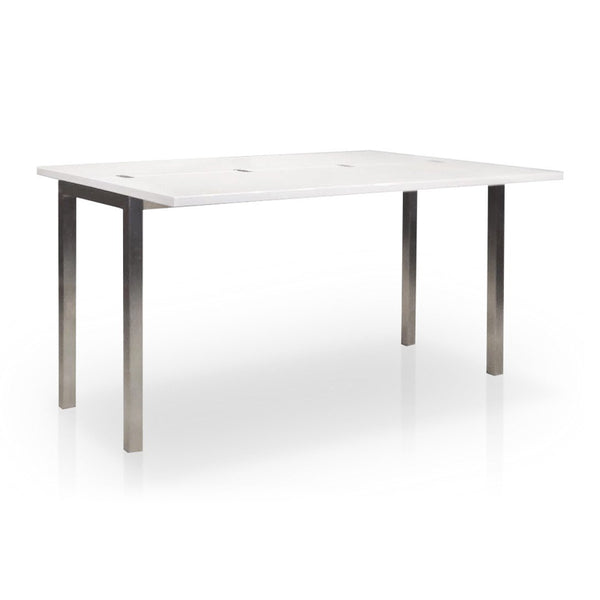 White Gloss Modern Folding Dining and Console Table with Brushed Stainless Steel Legs