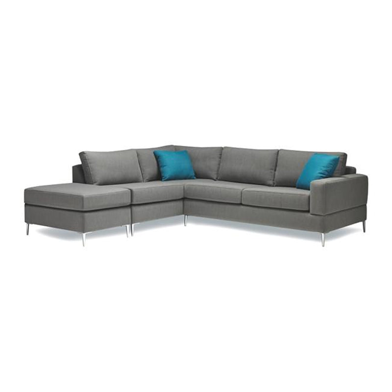 Modern fabric sectional, right hand facing