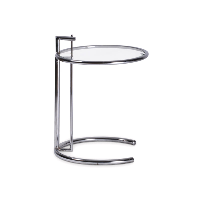 Modern glass end table with chrome base
