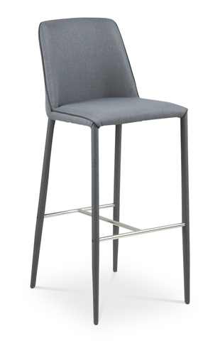 Dark grey modern fabric counter stool with upholstered legs