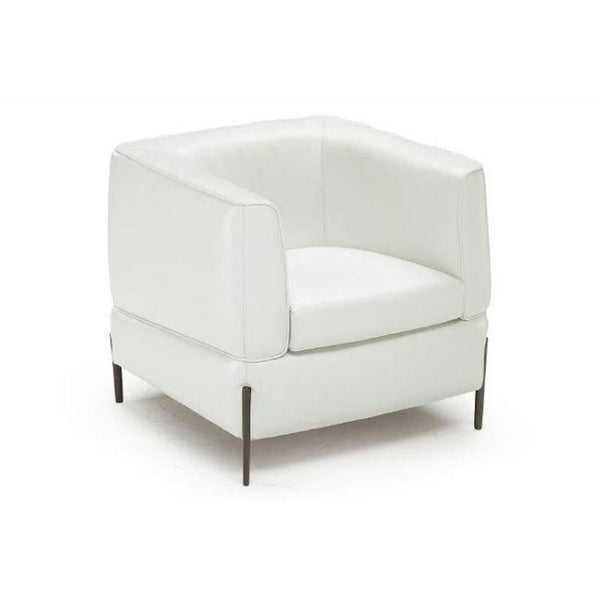 Modern natuzzi white leather arm chair with metal legs