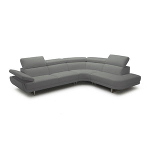 Dark grey modern leather sectional with ratcheting headrests
