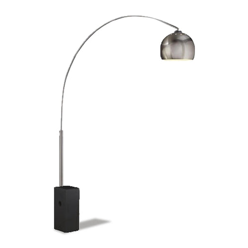 brushed steel modern arc lamp with black base