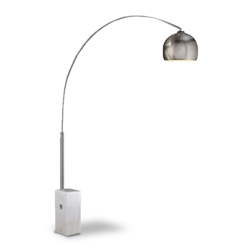 brushed steel modern arc lamp with white base