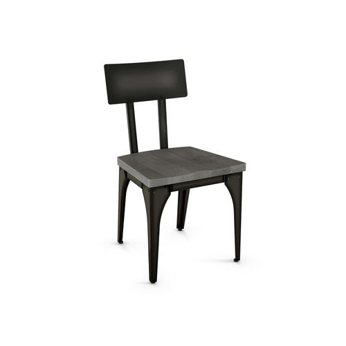 Modern cherry wood dining chair with steel frame and back