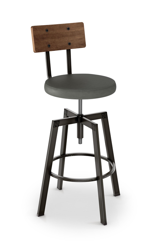 Modern adjustable upholstered counter stool with steel frame and wood back