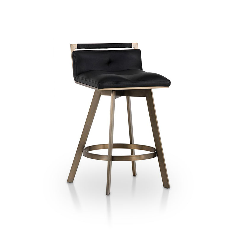 Black modern leather swivel counter stool with stainless steel base