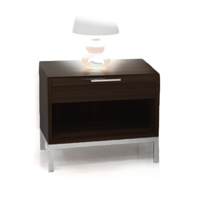 modern charcoal stained storage Night stand with brushed metal pull and legs
