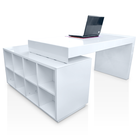 Modern white gloss desk with built in book case