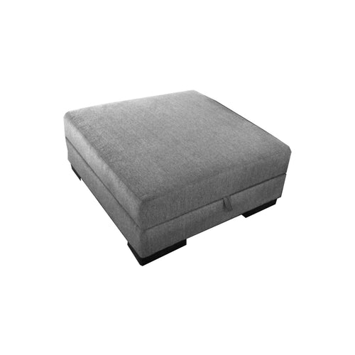 Grey modern fabric ottoman with dark wood legs and storage