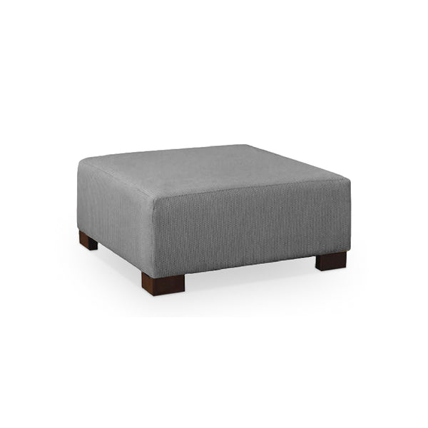Grey modern fabric ottoman with dark wood legs