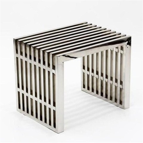 Modern chrome slatted bench or end table
