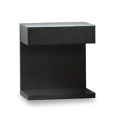 modern Charcoal Stained C shaped Wood Storage Night Stand