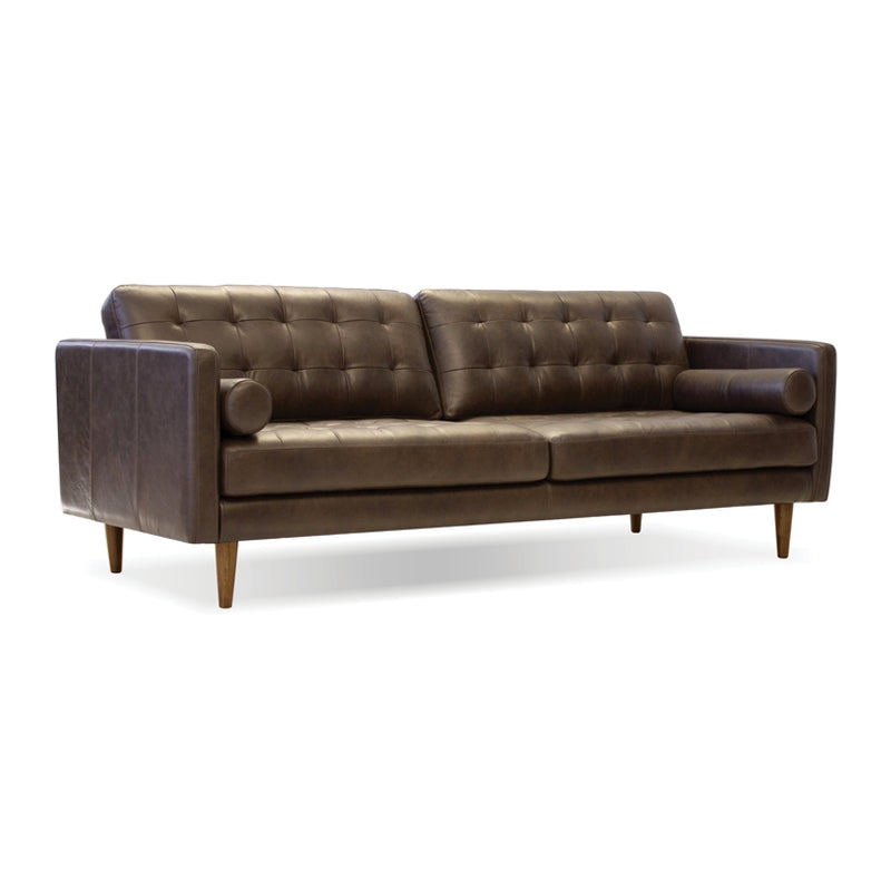 Vintage brown modern tufted leather sofa with wood legs