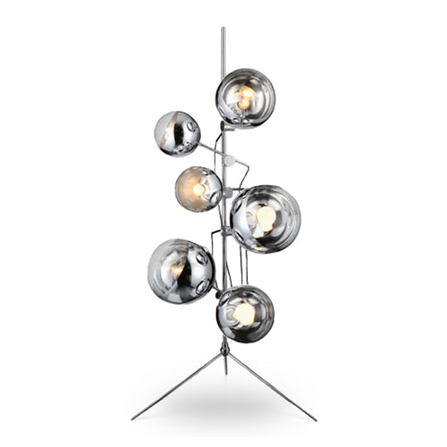 Modern chrome floor lamp with many round shades