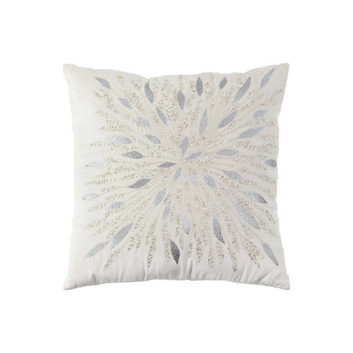 White modern velvet pillow with beading and embroidery
