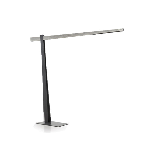 Brushed steel modern small floor lamp  with solid wood accent