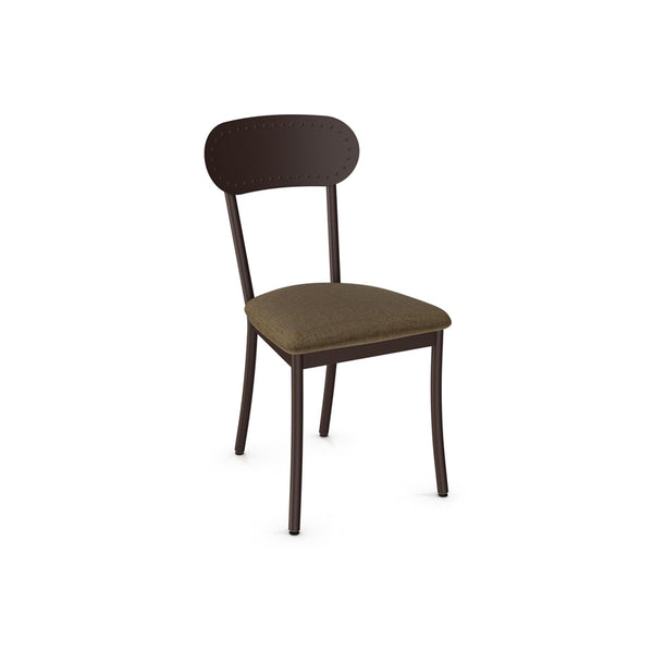 upholstered modern dining chair with steel frame and back