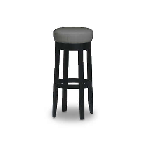White modern bonded leather counter stool with dark legs