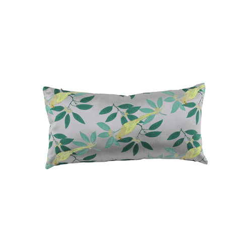 Grey, green and yellow bird and leaf pattern pillow