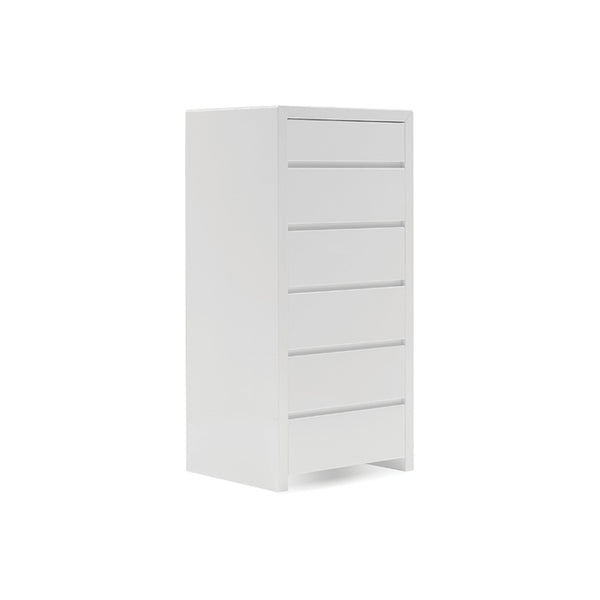White gloss modern six drawer chest
